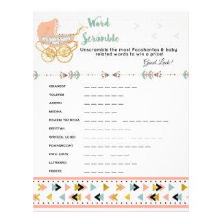 Pocahontas/Boho Baby Shower Word Scramble Game 21.5 Cm X 28 Cm Flyer