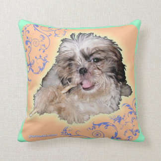 Pochi plays the Flute & Pochi puppy eyes Pillow Throw Cushion