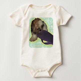 Pochi Puppy and Purple Flipflops Baby Bodysuit