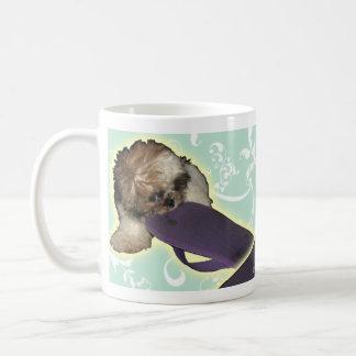 Pochi Puppy with Purple Flipflop Basic White Mug