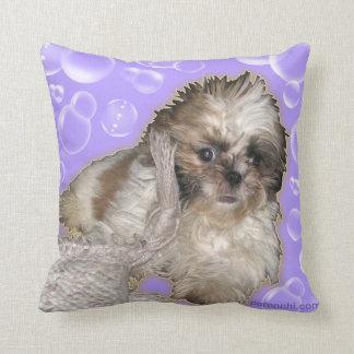 Pochi Purple FlipFlops & Pochi puppy bubbles Throw Cushion