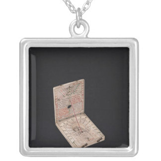 Pocket compass, 1592 silver plated necklace