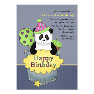 Pocket Panda Birthday Party Invitation