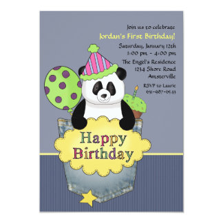 Pocket Panda Birthday Party Invitation