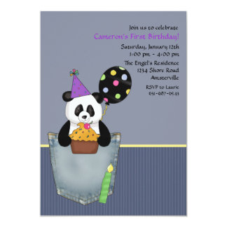 Pocket Panda's Birthday Treat Party Invitation