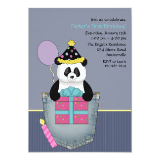 Pocket Panda's Present - Birthday Party Invitation