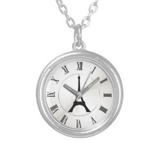 pocket watch elegant Vintage eiffel Paris Silver Plated Necklace