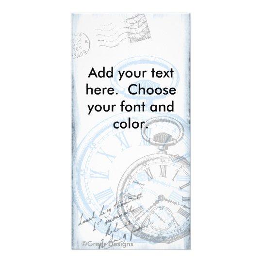 Pocket Watch Time Clock Vintage blue Card
