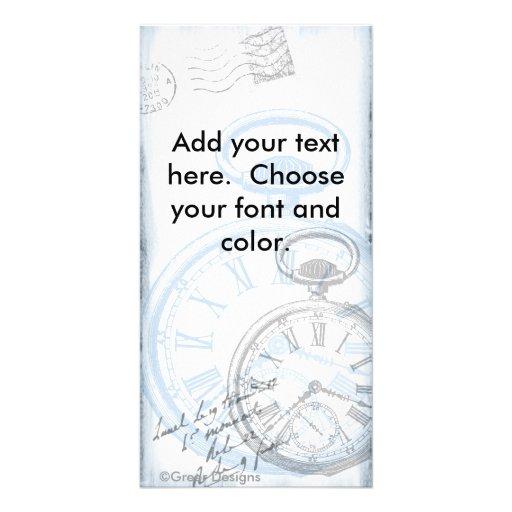 Pocket Watch Time Clock Vintage blue Picture Card