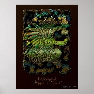 """""""POCOQUATYL, Juggler of Stars"""" Mayan God Art Print"""