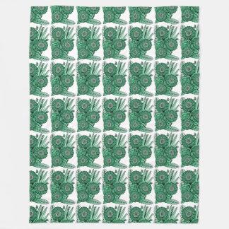 Pod Green Gerbera Daisy Flower Bouquet Fleece Blanket