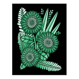 Pod Green Gerbera Daisy Flower Bouquet Postcard