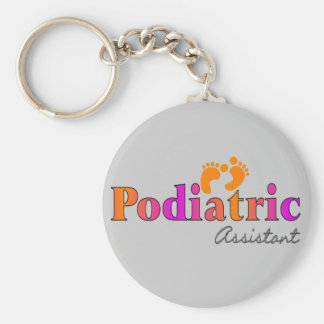 Podiatric Assistant With 2 Feet Design Basic Round Button Key Ring