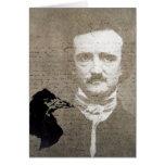 Poe And The Raven Grunge Digital Art, Birthday Greeting Card