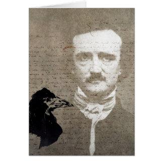 Poe And The Raven Grunge Digital Art, Birthday Card