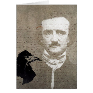 Poe And The Raven Grunge Digital Art, Birthday Greeting Card