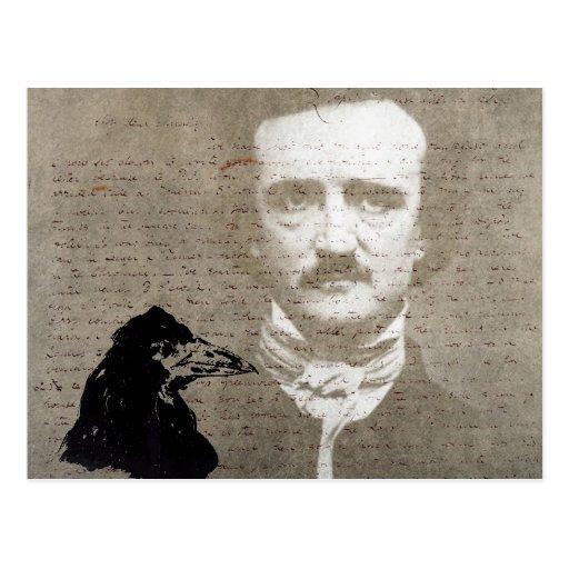 Poe And The Raven Grunge Digital Art Postcards