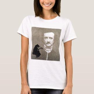 Poe And The Raven Grunge Digital Art T-Shirt