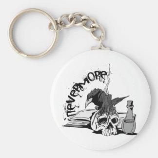 Poe Nevermore Raven Skull & Book Key Ring