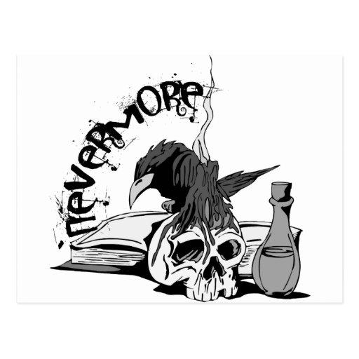 Poe Nevermore Raven Skull & Book Post Card
