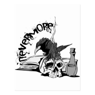 Poe Nevermore Raven Skull & Book Postcards