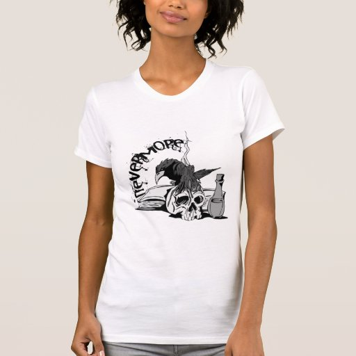 Poe Nevermore Raven Skull & Book T-shirts