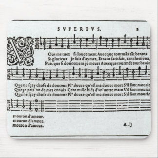 Poem to music by Jean Antoine de Baif Mouse Pad