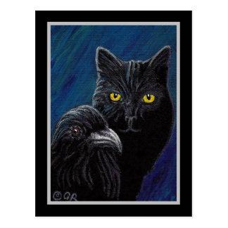 Poe's Cat & Raven Postcard