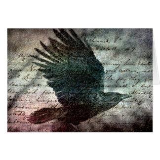 Poe's Grunge Raven, Birthday Card