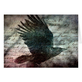 Poe's Grunge Raven, Birthday Greeting Card