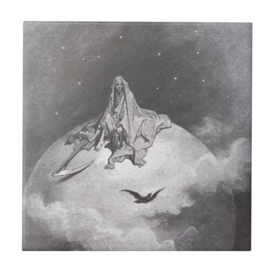 Poe's Raven Dreaming Dreams Print Small Square Tile