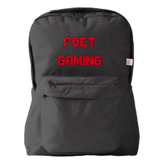 Poet Gaming Text backpack (Red on Black)