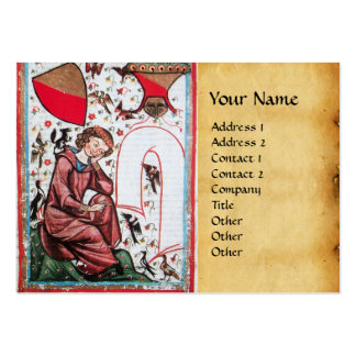 POET IN THE GARDEN OF BIRDS parchment Business Cards