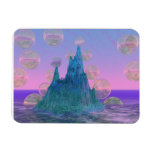 Poetic Mountain, Abstract Magic Teal Pink Rectangular Magnet
