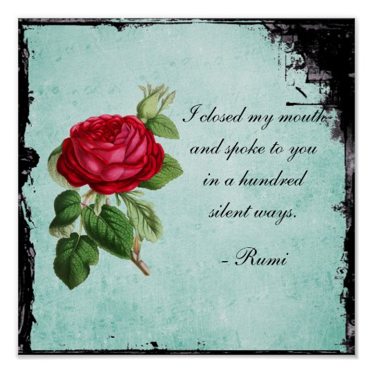 Poetic Rumi Quote Typography with Vintage Red Rose