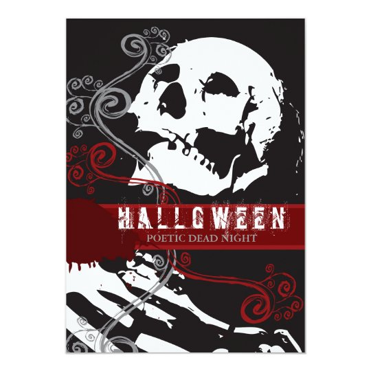 Poetic Skeleton Custom Halloween Invitation