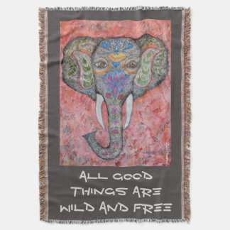 Poetry Indian Elephant Art Throw Blanket
