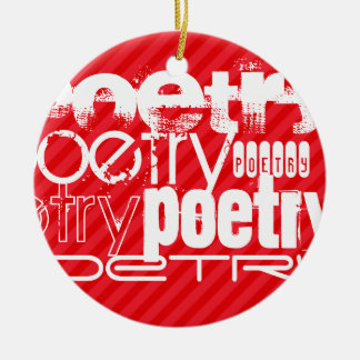 Poetry; Scarlet Red Stripes Christmas Ornament