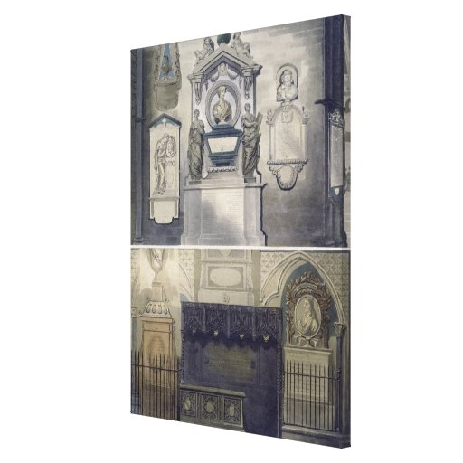 Poets' Corner, plate F from 'Westminster Abbey', e Gallery Wrap Canvas