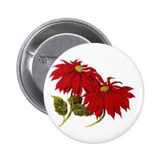 Poinsetta 6 Cm Round Badge