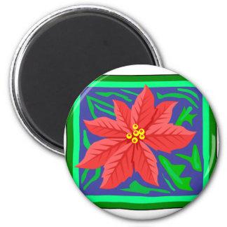 Poinsetta 6 Cm Round Magnet