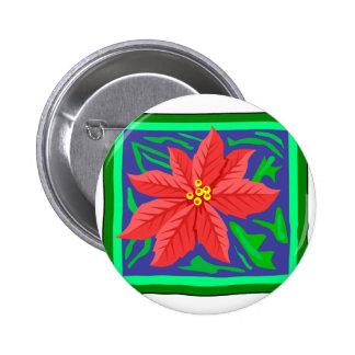 Poinsetta Pinback Buttons