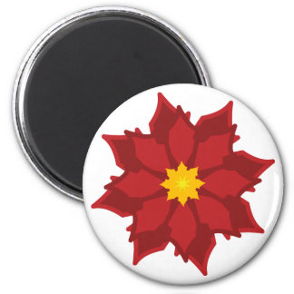 Poinsetta Magnet-Customize 6 Cm Round Magnet