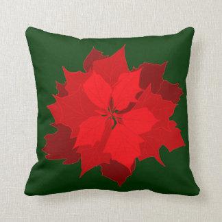 Poinsetta modern Christmas red green throw pillow Cushions