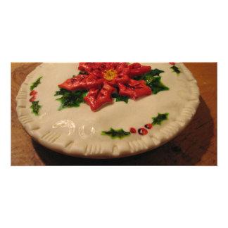 Poinsetta Pie I Custom Photo Card