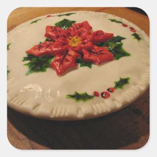 Poinsetta Pie I Square Sticker