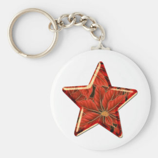 poinsetta star basic round button key ring