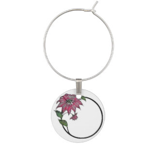 Poinsetta Wine Charms