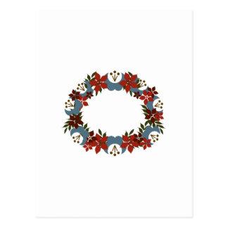 Poinsetta Wreath Postcard