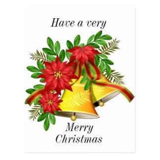 Poinsettas and bells Christmas card Postcard